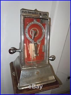 1901 Detroit Medical Battery Electricity Is Life Cast Iron Coin-Op Penny Arcade