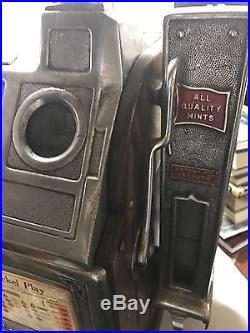1920s Antique 5 Cent Jennings Dutch Boy Slot Machine Goose Neck With Side Vendor