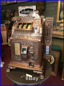 1929 MILLS Poinsettia Copper Plated Slot Machine with MINT VENDOR Watch Video