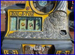 1930's Rol A Tor 5 Cent Vending Slot Machine Pre Rol A Top Very Rare