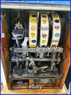 1930's Vintage Mills Castle 5 Cent Slot Machine Bell Fruit Antique WORKING