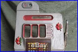 1930's or 40's Mills Black Cherry Slot Machine Parts Face Case Arm No Mech AS IS