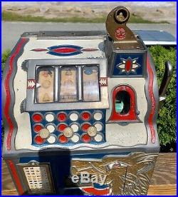 1930s 5 Cent Slot Machine Lion Head Mills Novelty Coin Drop Bell Fruit Gum