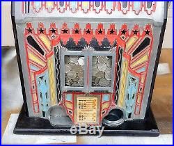 1930s PACE COMET Fancy Face 5 Cent SLOT MACHINE (Working!) Very Nice Shape