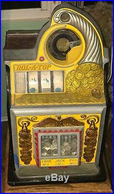 1930s Walting Roll-A-Top 5 CENT Slot Machine With Original Oak Cabinet Stand
