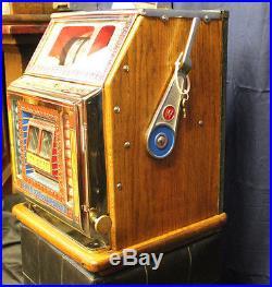 1931 5¢ Watling Blue Seal Front Vendor Twin Jackpot Gooseneck Bell Slot Machine