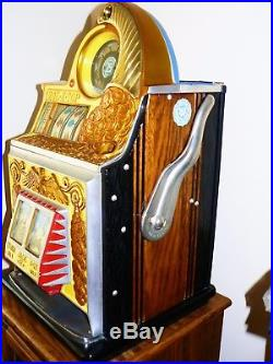 1934-WATLING GOLD COIN 25c ROL-A-TOP SLOT MACHINE, MINT RESTORATION-NONE BETTER