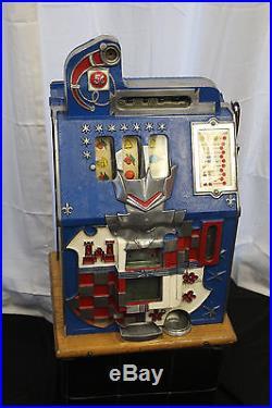 1936 5 ¢ MILLS Novelty Blue Front Castle Front Coin Op Slot Machine