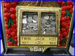 1936 Watling ROL-A-TOP Cherry Front 5C Slot Machine Twin Jackpot Casino WORKS