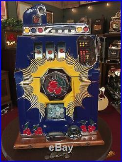 1937 MILLS 5 Cent BURSTING CHERRY Slot Machine Watch Our Video