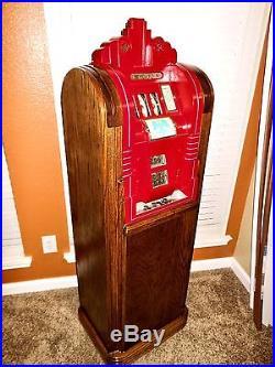 1937 Mills Extraordinary 5 Cent Console Slot Machine Restored