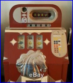 1938 Mills (Bonus Bell) Horse Head 5-Cent Slot Machine (Completely Restored)