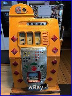 1939 Antique Mills Diamond Front 10-cent Nickel Slot Machine, Watch Video