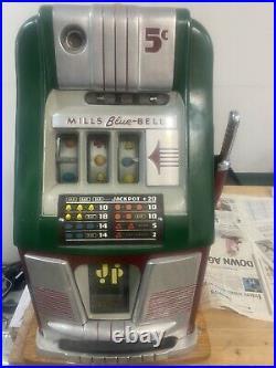 1940's Mills 5-cent BLUE BELL Hi-Top Antique Slot Machine. NEEDS REPAIR/RESTO
