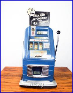 1940s Mills Jewel Bell Nickel Slot Machine Aluminum One Arm Bandit 1940s Vegas