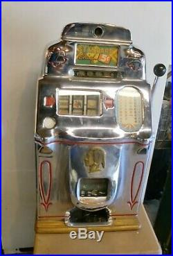 1940s Vintage Jennings Standard Chief 5 Nickel 5 Cent Slot Machine Original