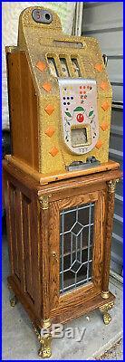 1941 Vintage 5cent Mills Slot Machine Gold Chrome Bell Diamond Front WORKS