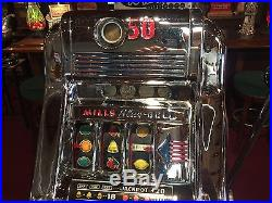 1947 MILLS 50 Cent Blue Bell Hi-Top Slot Machine Watch Our Video