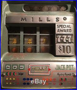1948 MILLS 5 Cent Hi-Top Bell-O-Matic Slot Machine Unrestored Works Great