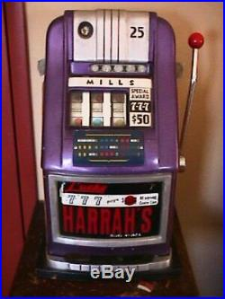 1948 Mills Lucky 777, 25 cent Slot Machine, With Money Box