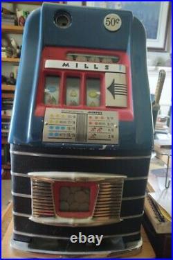 1949 MILLS Half Dollar Antique Slot Machine, Working, With Key