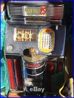 1950s Club Chief 25cent Slot Machine With Original Casino Movable Stand & Wheels