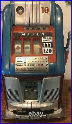 1953 Antique Original Mills Dime Slot Machine Hi Top Triple 7s