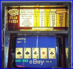 1985 Games of Nevada 1 To 5 Quarter Lighted Video Draw Poker Machine-FULLY WORKS
