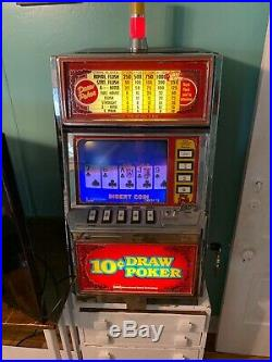 1985 IGT 10 Cent Lighted Video Draw Poker Machine-FULLY WORKS 1 To 5 Coins
