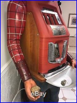 25 Cent Slot Machine Mills Hand Carved Figure Gold Miner Reissue Polk Sanchez