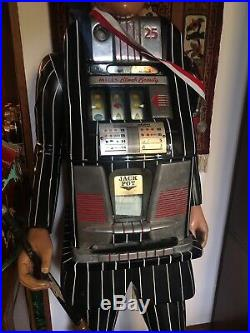 25 ct Mills Black Beauty Slot Machine Carved Wooden God Father Figure Free Ship