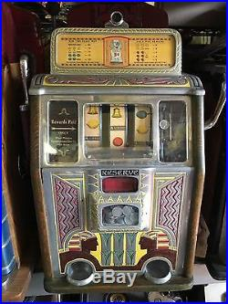 5 Cent Caille Bros. Silent Sphinx Reserve Jackpot Slot Machine c1930's Cleopatra