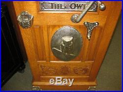 5 Cent MILLS OWL UPRIGHT FLOOR MODEL SLOT MACHINE OAK & CAST IRON RARE EARLY