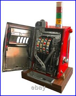 60's MILLS OVERLAND GOLD CLUB 5 CENT SLOT MACHINE RARE 4 WHEELS