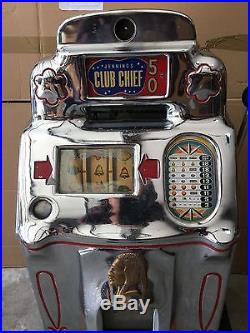 ANTIQUE 1940S JENNINGS ClUB CHIEF SLOT MACHINE RARE 50 CENT