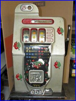 ANTIQUE 1946 MILLS 25 CENT BLACK CHERRY SLOT MACHINE with STAND WORKS GREAT