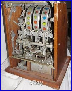 Antique Mills -10 Cent Casino Slot Machine Nice Cherry Diamond Front Pattern