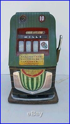 Antique Mills 10 Cent Slot Machine In Very Good Working Order Great Art Deco