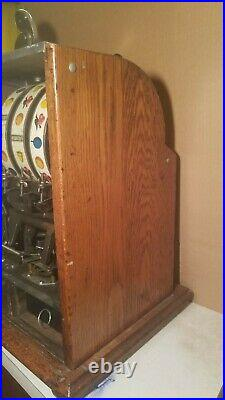 ANTIQUE MILLS 5 CENT GOOSE NECK COIN OP SLOT MACHINE BEAUTIFUL MACHINE 1920's