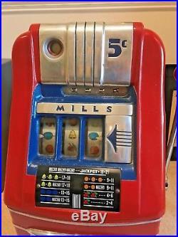 ANTIQUE MILLS NICKLE SLOT MACHINE 1948 Mills Hightop Working Condition