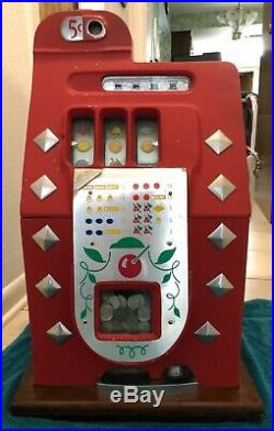 ANTIQUE MILLS Novelty Silver DIAMOND 5 CENT RED SLOT MACHINE 1930s Works WithKey