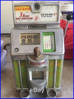 ANTIQUE ORIGINAL JENNINGS Las Vegas HACIENDA 5 CENT SLOT MACHINE