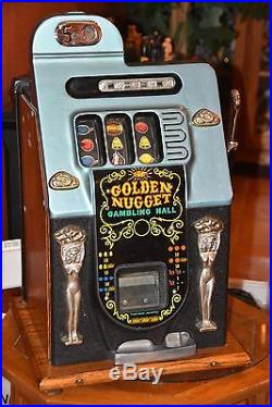 ANTIQUE SLOT MACHINE MILLS GOLDEN NUGGET Nickel Machine! $2500