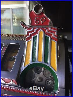 ANTIQUE VINTAGE PACE Blanche Comet 5 CENT Slot Machine Restored And In Ex Cond