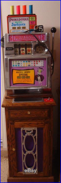 ANTIQUE VINTAGE PACE PRIMADONNA 5 CENT MULTIPLE JACKPOTS SLOT MACHINE 1960s