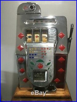 All Original Antique Mills 10 Cent Slot Machine Diamond Front Works Perfect