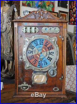 Antique 1911 French Coin Operated ROULETTE BUSSOZ Coin Op Gambling Slot Machine