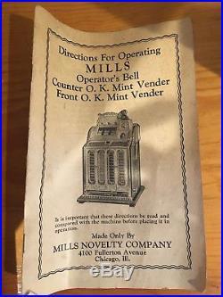 Antique 1925 Mills Operators Bell 5 Cent Slot Machine! RARE