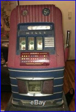 Antique 1930's Mills Jewel Bell Hi-Top 5 Cent Slot Machine