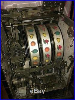 Antique 1930's Mills Jewel Bell Hi-Top 5 Cent Slot Machine With Stand Original
